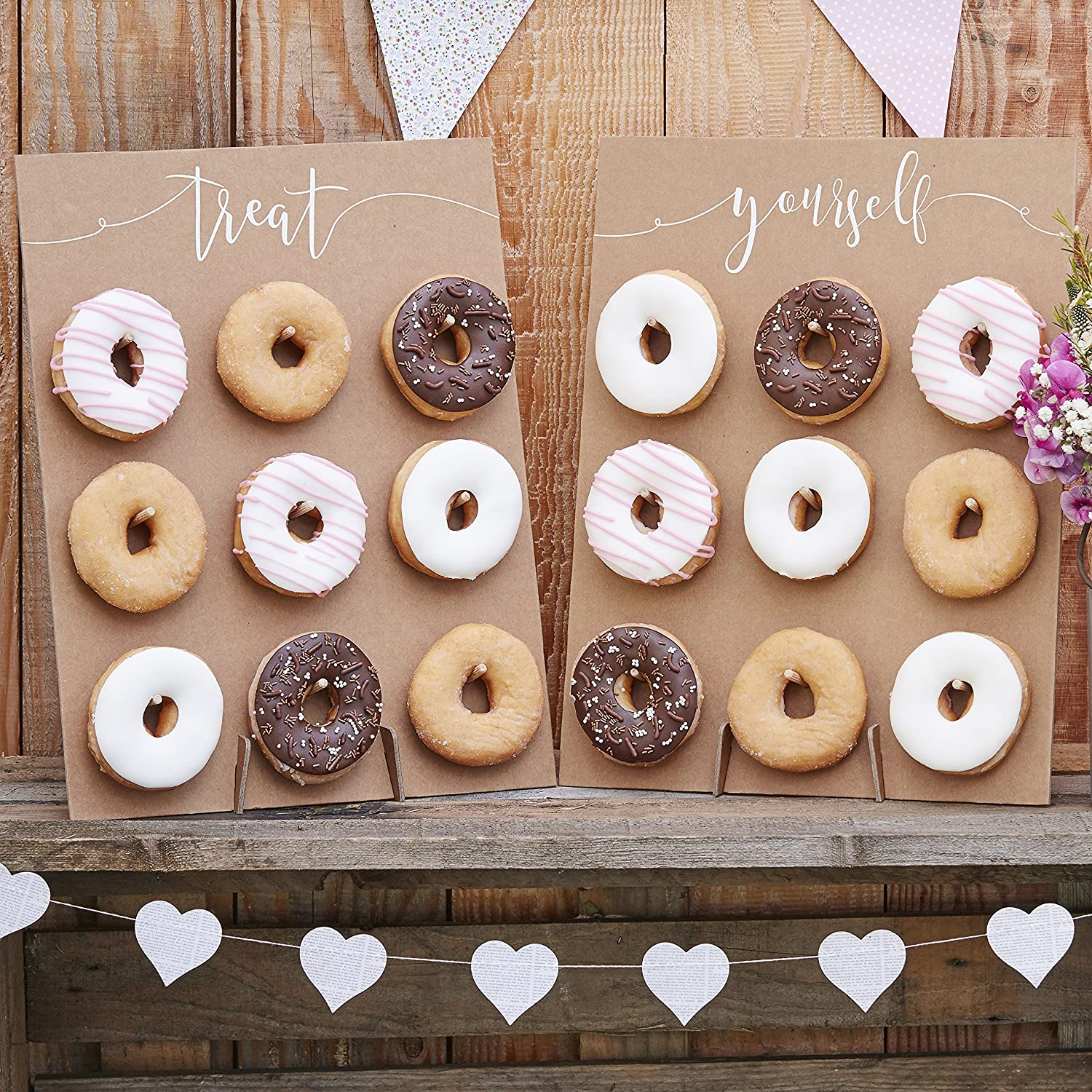 Rustic Country Ginger Ray Natural Kraft Finish Donut//Doughnut Wall Wedding Favours