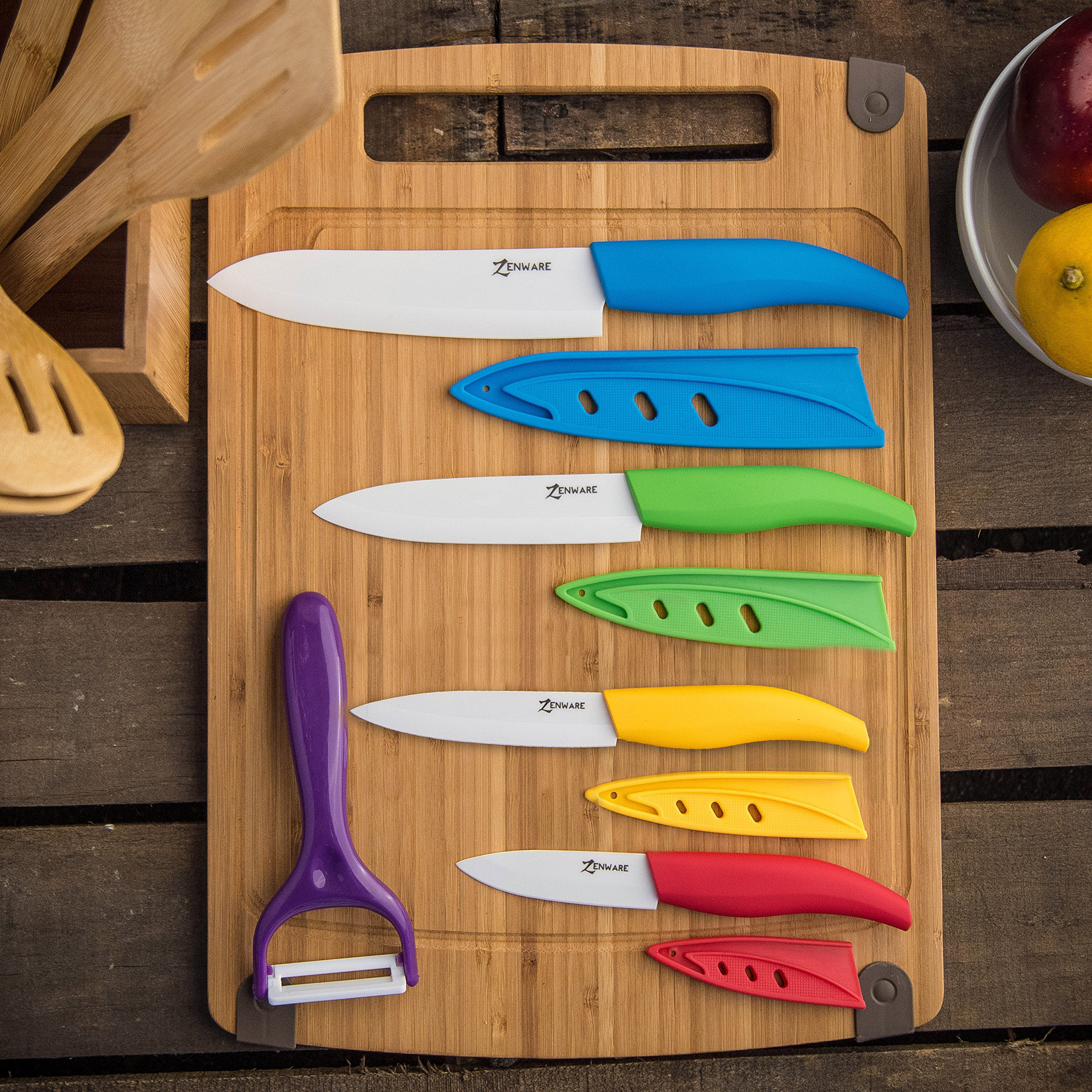 ZenWare 9 Piece Multi Color Ceramic Cutlery Kitchen Knives with Fruit Peeler - Knife Set by APlus+ (Image #4)