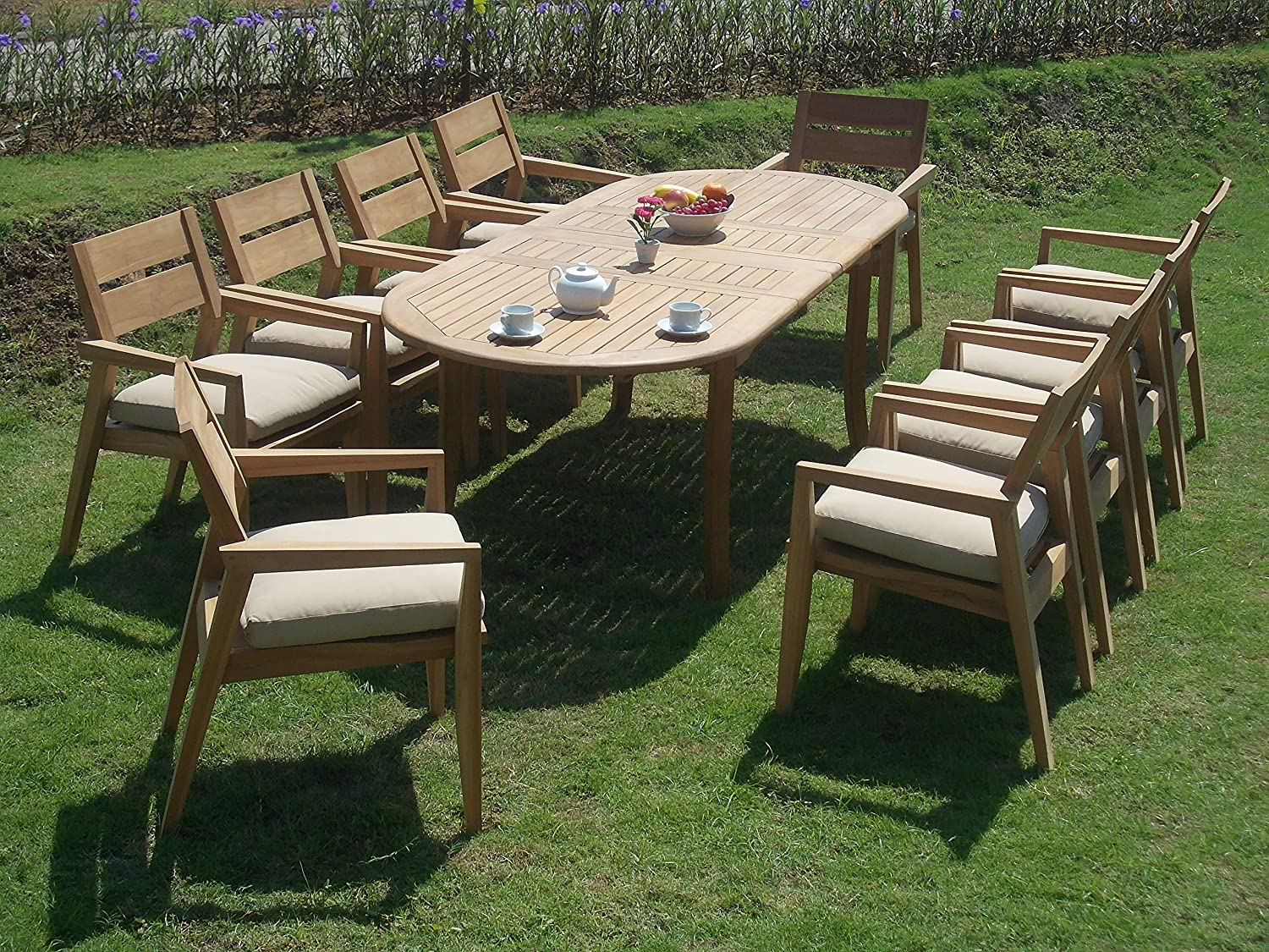 "11 PC A Grade Outdoor Patio Teak Dining Set - 94"" Double Extension Oval Table & 10 Vellore Stacking Arm Chairs"