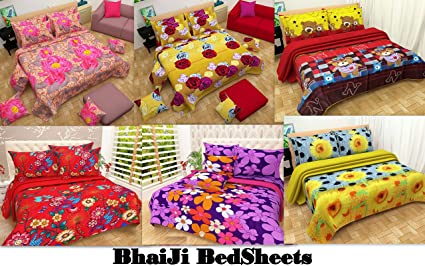 BhaiJiu0027s BEDSHEET Combo Of 6 Bedsheets 12 Pillow Covers, Double Bed, Floral  3D Prints
