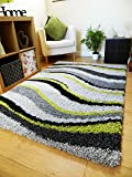 NEW MODERN SOFT SHAGGY RUG BLACK GREEN SILVER GREY WAVE RUG (6 SIZES AVAILABLE) (120X170CM)