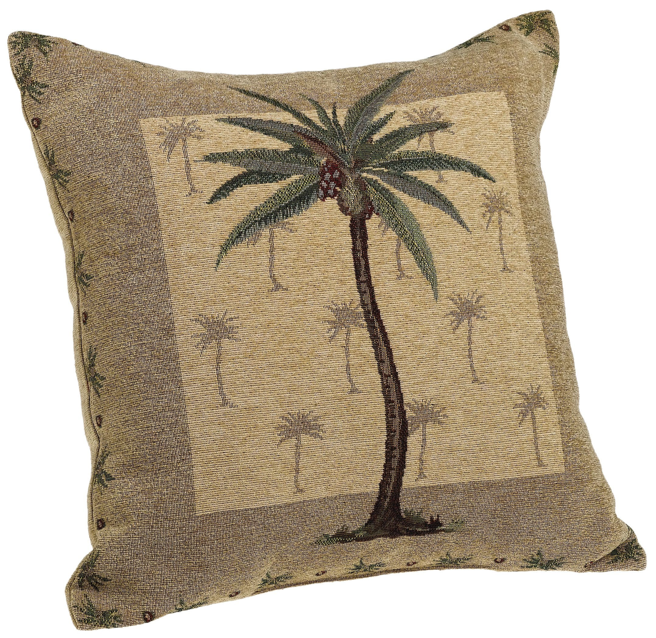 Brentwood Originals Panama Jacquard Chenille 18-by-18-inch Decorative Pillow, Palm Tree by Brentwood Originals