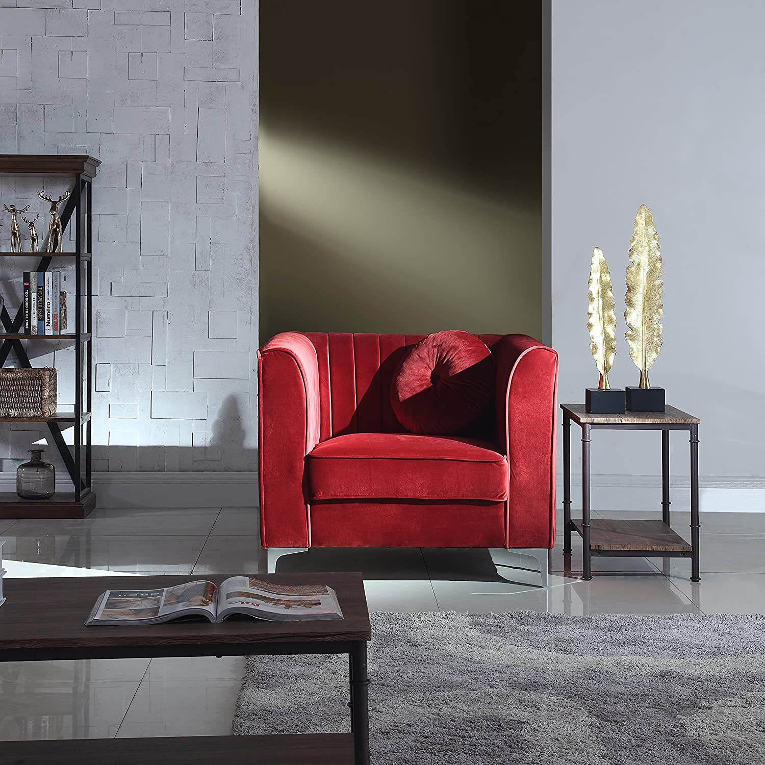 Amazon.com: DIVANO ROMA FURNITURE Classic And Traditional Living Room  Marilyn Velvet Armchair, Club Chair With Tufted Accent Pillows (Red):  Kitchen U0026 Dining