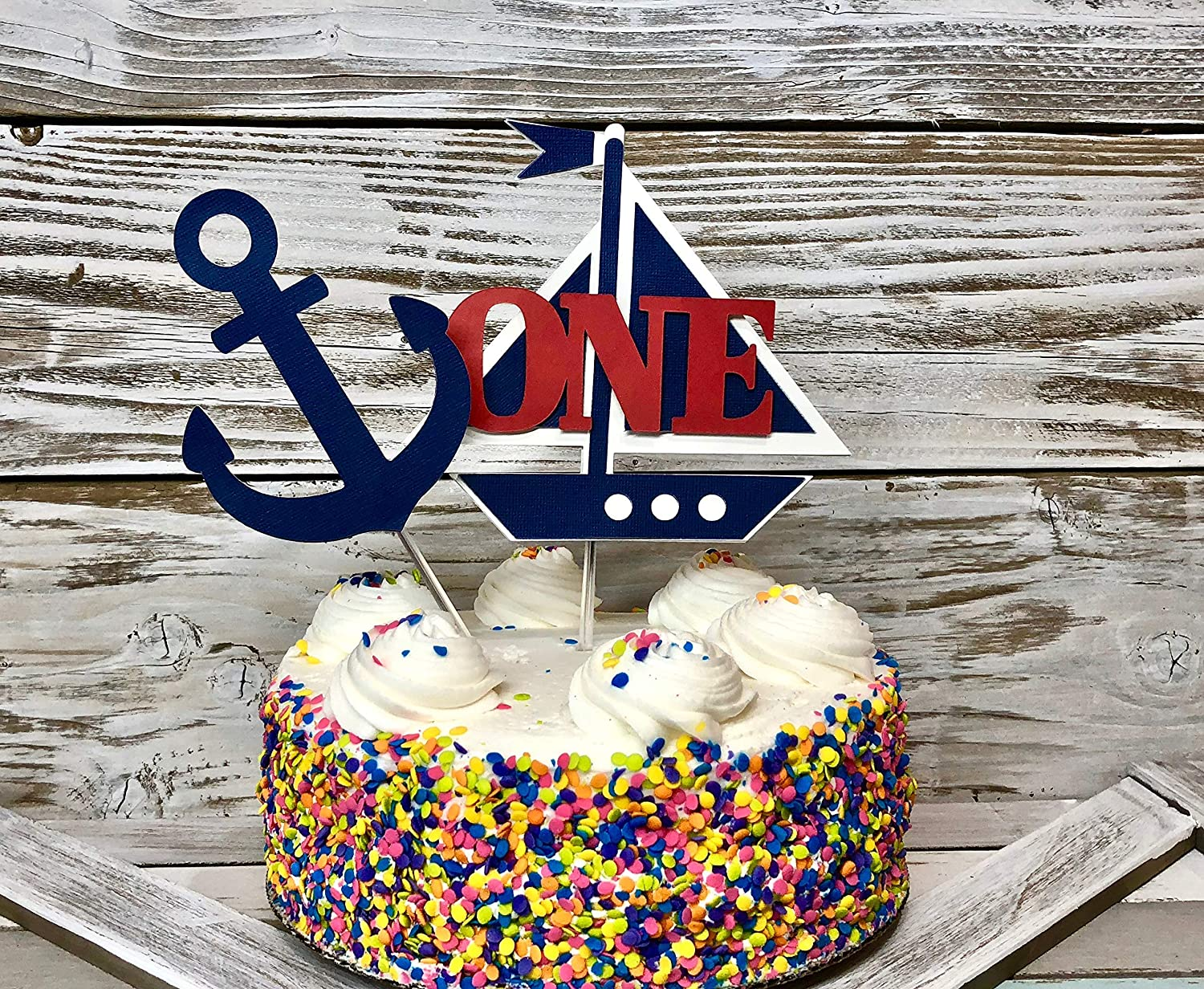 Anchor cake topper Cake Smash Nautical First Birthday Sailboat top