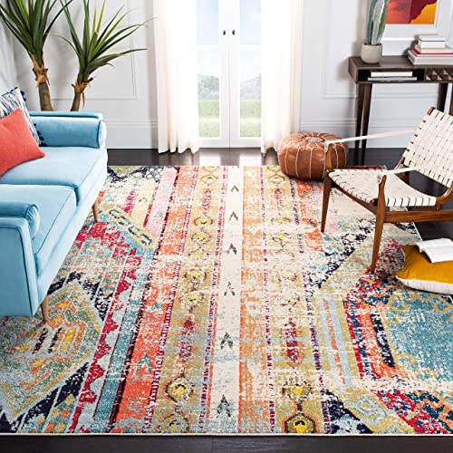 Safavieh Madison Collection MAD422F Boho Chic Tribal Distressed Non-Shedding Stain Resistant Living Room Bedroom Area Rug