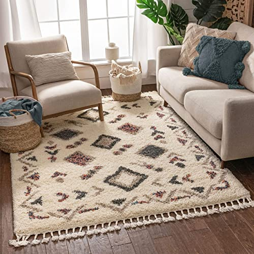 "Well Woven Zohra Ivory Moroccan Shag Tribal Diamond Medallion Pattern Area Rug 8x10 7'10"" x 9'10"""