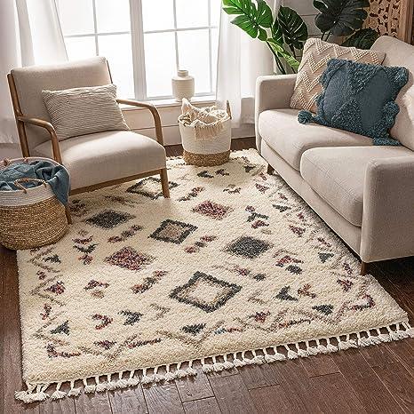 Amazon Com Well Woven Asilah Deja Shag Tribal Nomadic Ivory 3 11 X 5 3 Area Rug Furniture Decor