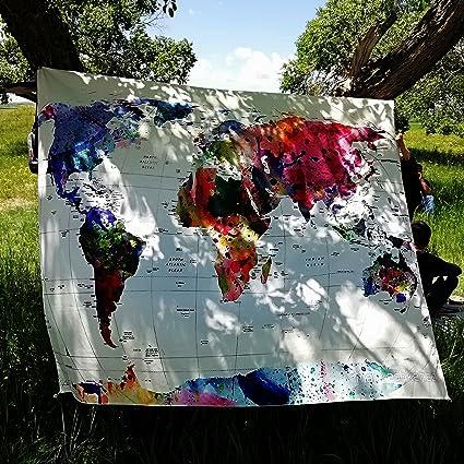 GODPASS World Map Tapestry Wall Hanging Mandala Bohemian Blurry Art Fabric Home Decor