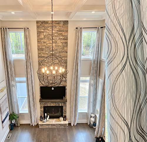 Ikiriska Extra Long Jacquard Curtain with White and Gray Silver Pattern Grommet top 12 15 16 17 18 19 20 24 feet 2 Story Great Living Room Custom