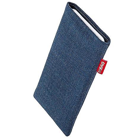 fitBAG Jive Blau Handytasche Tasche aus Textil-Stoff mit Microfaserinnenfutter für Fairphone 2 Slim 2016 | Hülle mit Reinigun