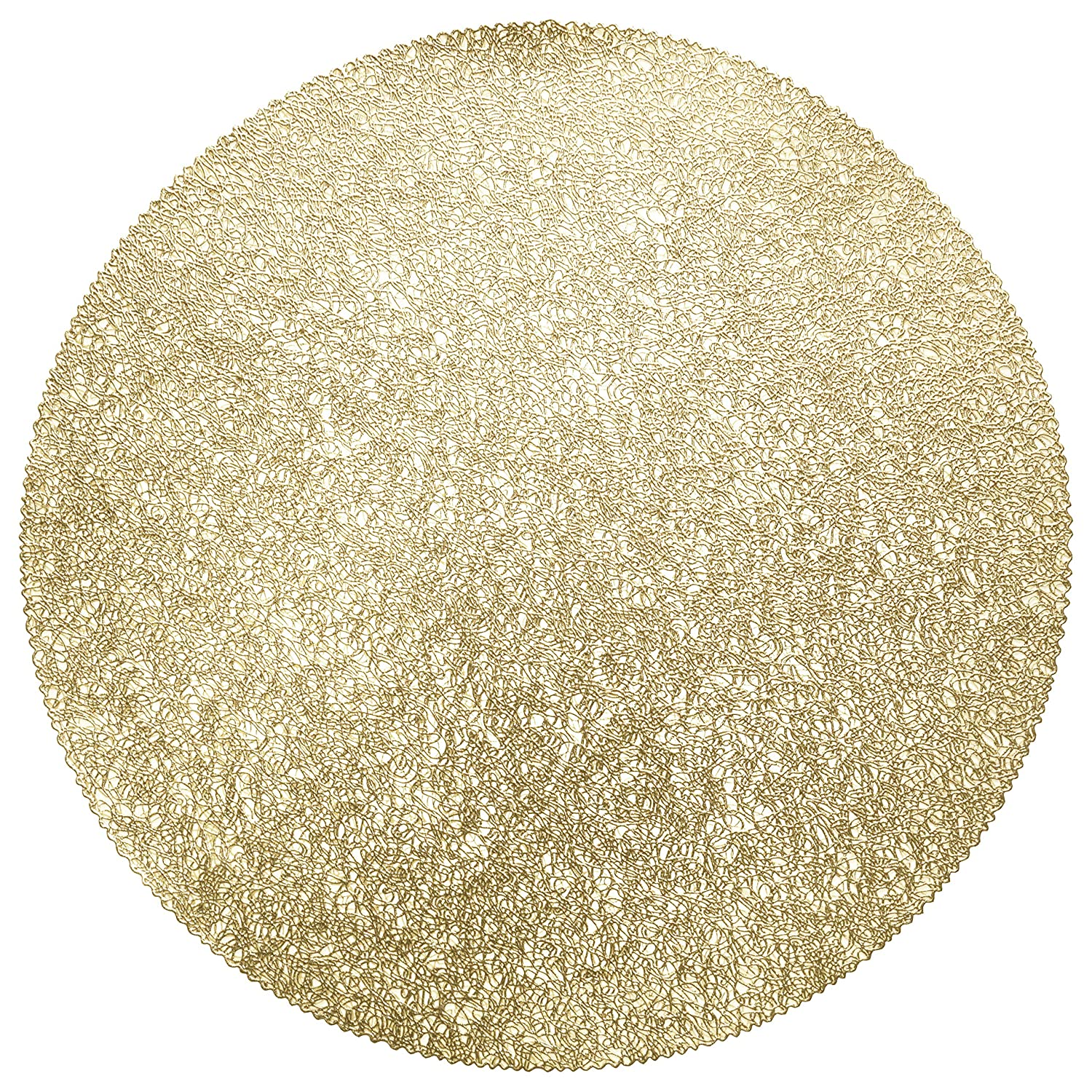 """"""" Occasions"""" 10 Pieces Pack Pressed Vinyl Metallic Placemats/Wedding Accent Centerpiece Placemat (Glam Gold)"""