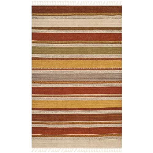 Safavieh Striped Kilim Collection STK319A Hand Woven Multicolored Premium Wool Area Rug 2 6 x 4