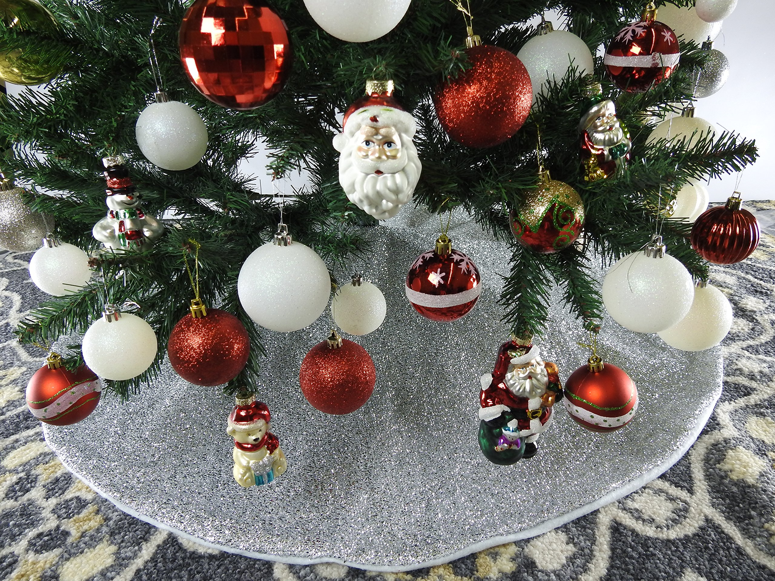 42'' Silver Shinny Tinsel Christmas Tree Skirt - Silver