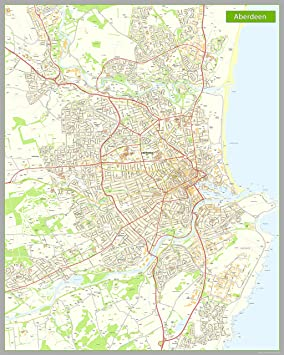 Aberdeen Street Map - Paper - Size 160 x 200 cm: Amazon.co.uk ...