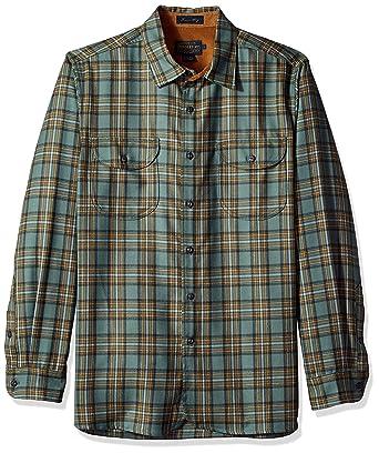 406379db Pendleton Men's Long Sleeve Fitted Buckley Shirt, Green/Grey Plaid LG