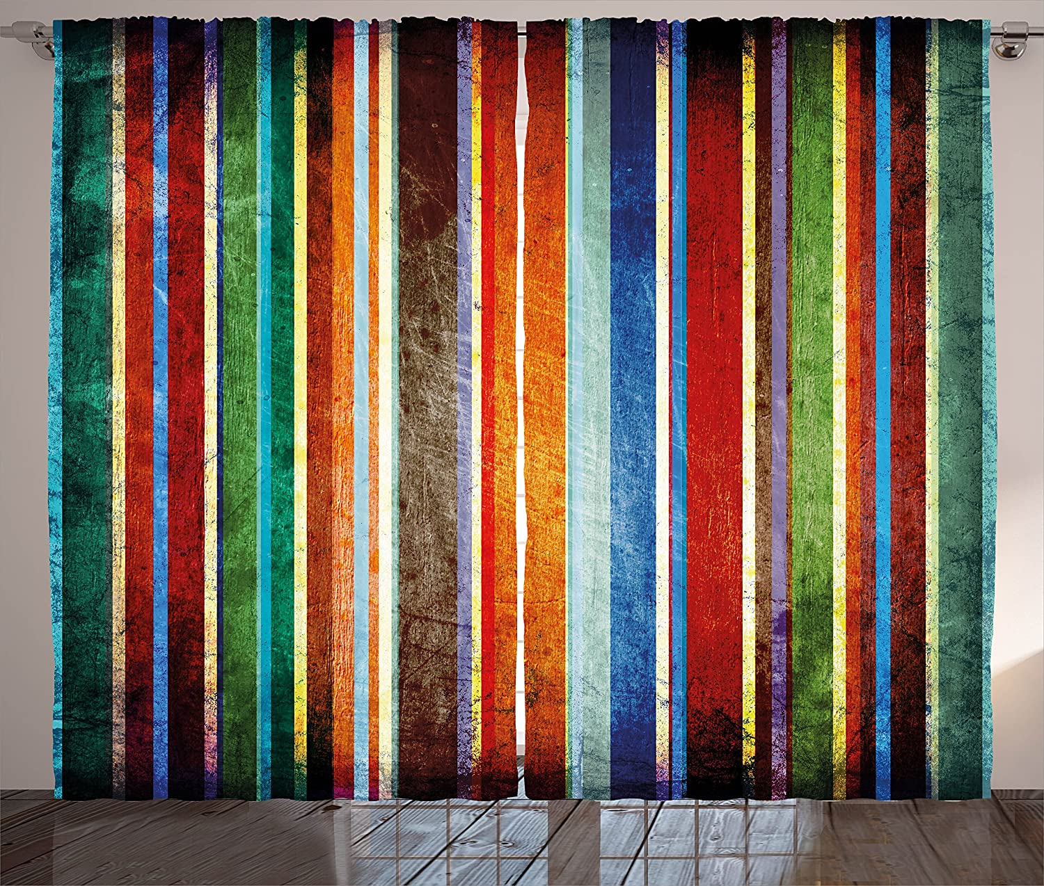 "Ambesonne Stripes Curtains, Vertical Lines Colorful Retro Bands Damage Effects Old Fashion Weathered Display, Living Room Bedroom Window Drapes 2 Panel Set, 108"" X 84"", Green Red"