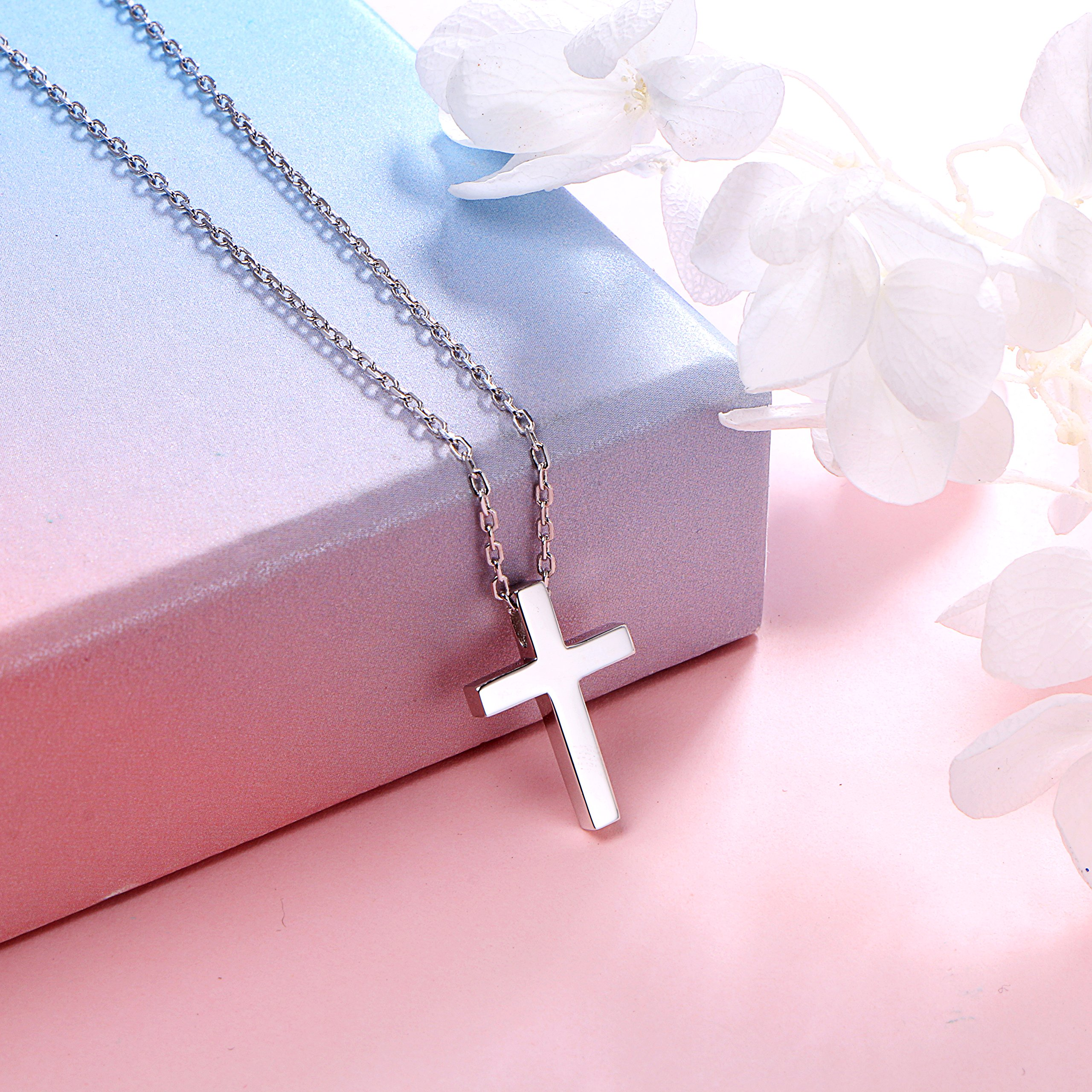 ALPHM S925 Sterling Silver Small Cross Pendant Necklace for Children Girl Baby boy 16'' Chain by ALPHM (Image #3)