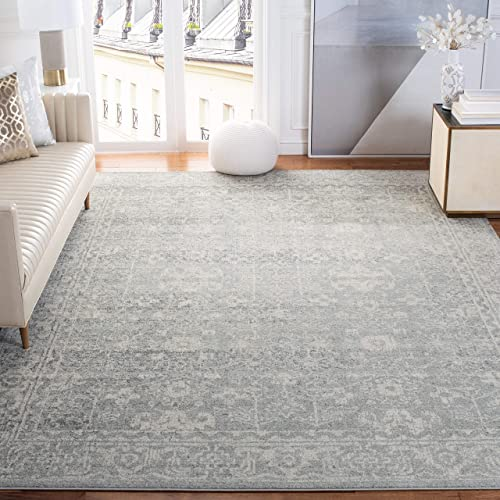 Safavieh Evoke Collection EVK270Z Vintage Silver and Ivory Area Rug 6'7″ x 9'