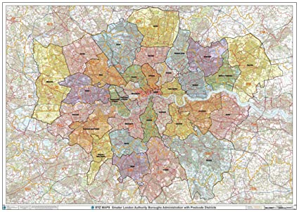 London And Greater London Map.Greater London Authority Boroughs With Postcode Districts Wall Map