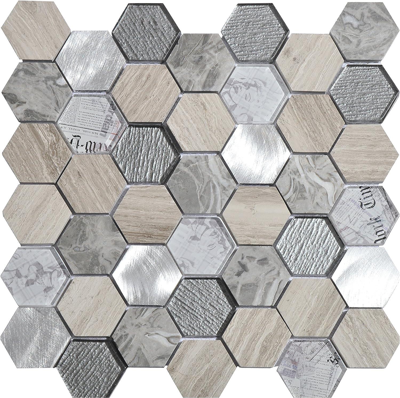 8 mm Blanco Mosaico de M/ármol y Vidrio en Malla DEC-47295ATQ013 30 x 30 cm
