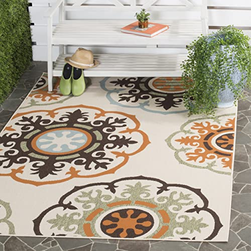 Safavieh Veranda Collection VER002-0715 Indoor Outdoor Cream and Terracotta Contemporary Area Rug 5 3 x 7 7