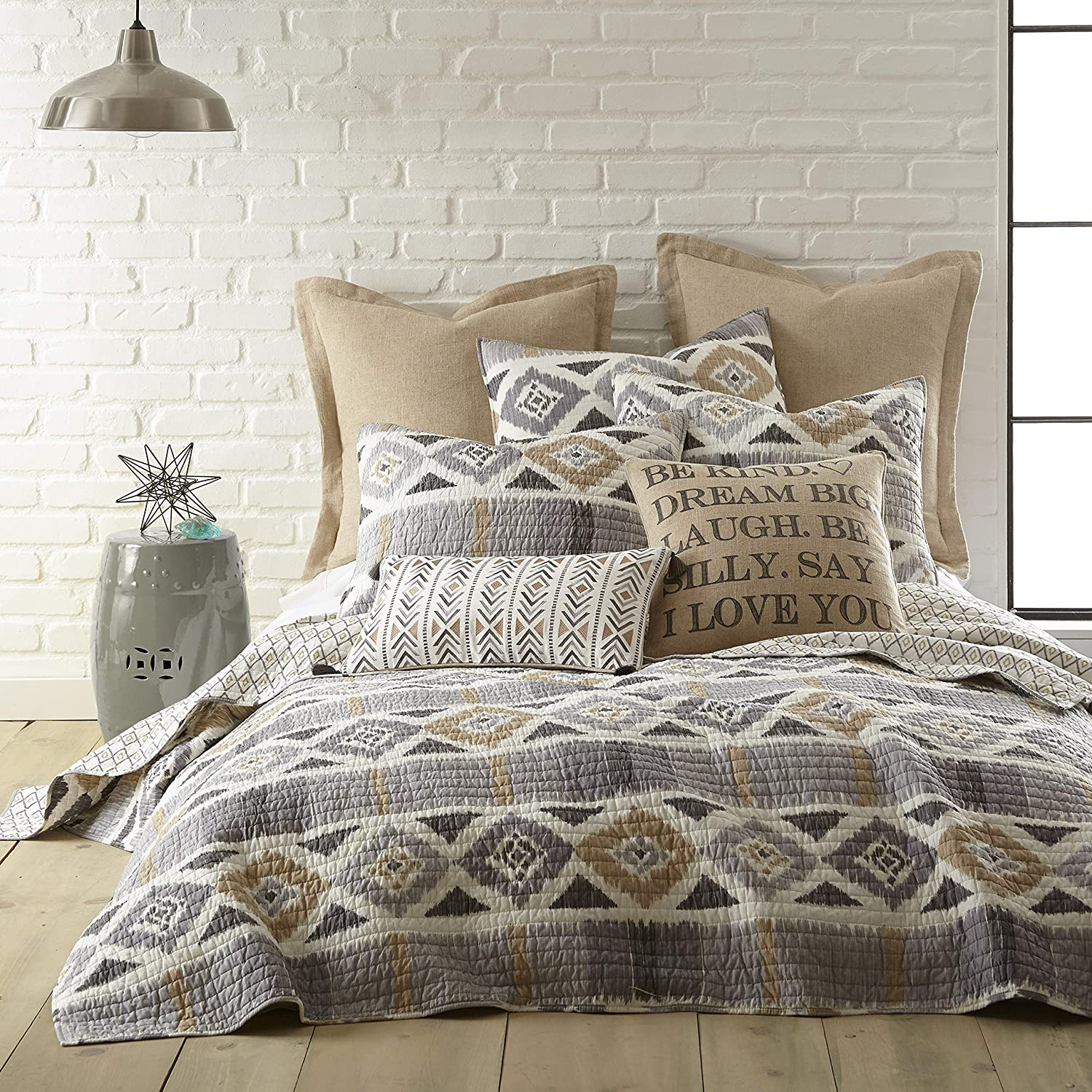 Levtex Home - Santa Fe Quilt - Ikat Pattern in Soft Grey, Cream and Tan - King Quilt Size (106 x 92in.) - Reversible Pattern - Cotton - Shams Sold Separately