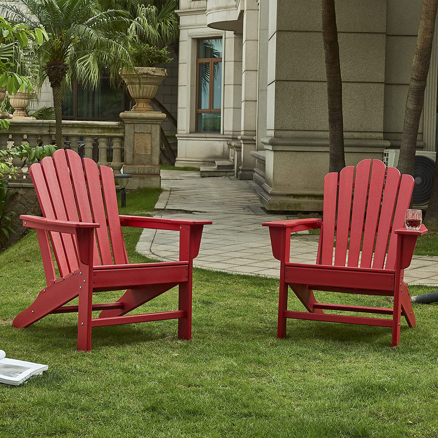 Ehomexpert Classic Outdoor Adirondack Chair Set of 2 for Garden Porch Patio Deck Backyard, Weather Resistant Accent Furniture, Red