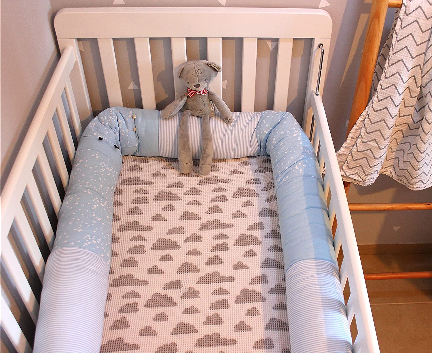 """Heny Deutch Long Bumper Snake Cot Pillow Renewed Blue 86/"""" Crib Bumper Unisex Multipurpose For Mother and Child"""