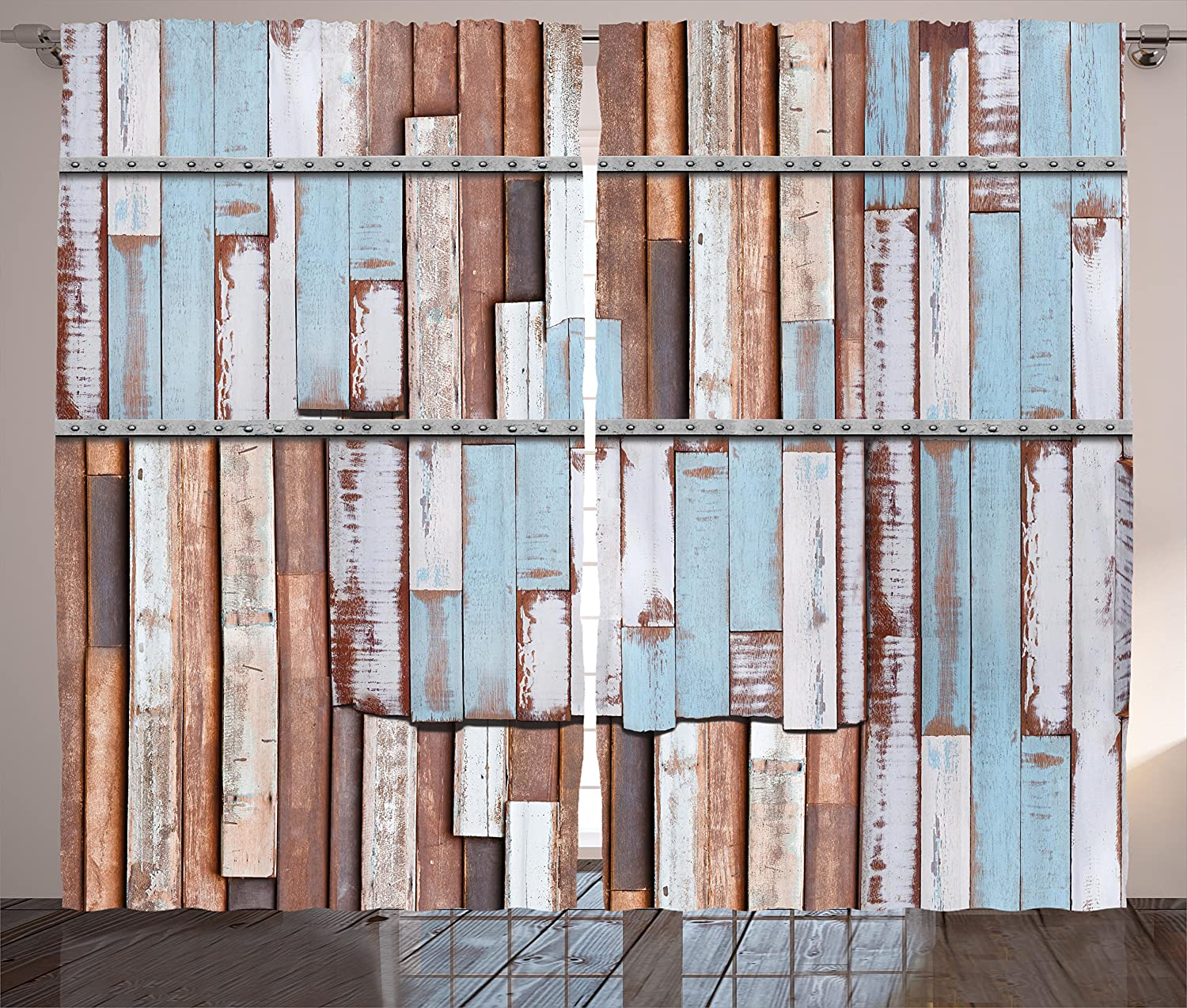 Ambesonne Rustic Curtains, Nautical Long Wooden Planks Tree Designs on with Rusty Screws Art Print, Living Room Bedroom Window Drapes 2 Panel Set, 108