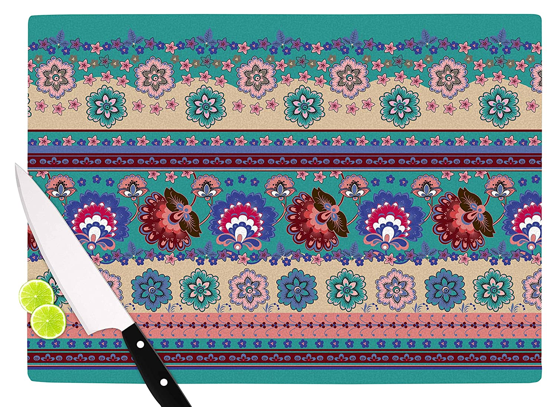 KESS InHouse VK1003ACB01 Victoria KruppFolkloric Flowers Border Purple Floral Cutting Board 11.5 x 8.25 Multi