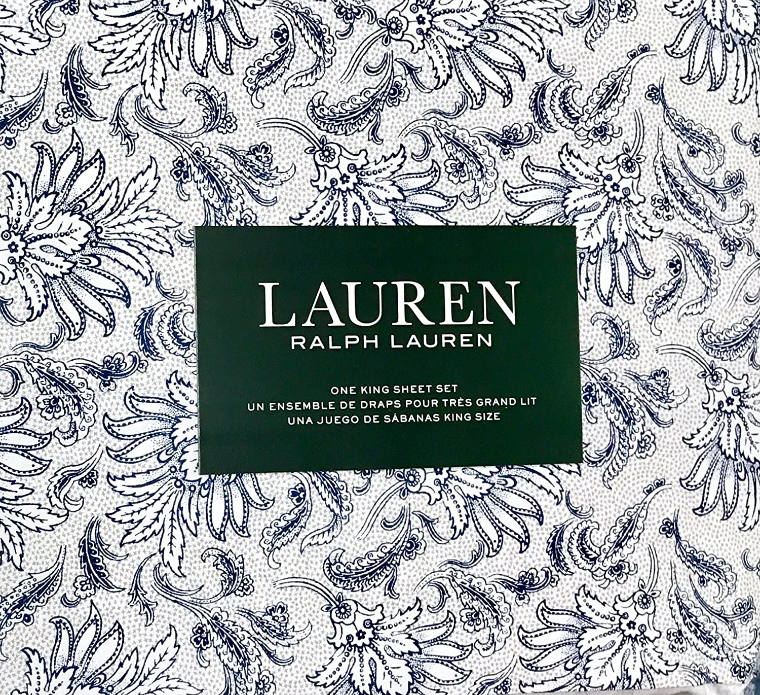 Ralph Lauren 4 Piece Sheet Set - Navy Blue Floral Pattern with Leaves on White with Grey Accents in Background 100% Cotton (King)