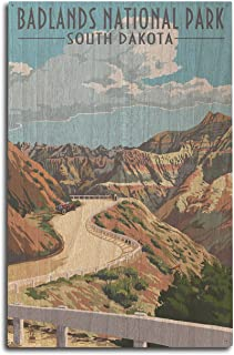 product image for Lantern Press Badlands National Park, South Dakota - Road Scene (10x15 Wood Wall Sign, Wall Decor Ready to Hang)