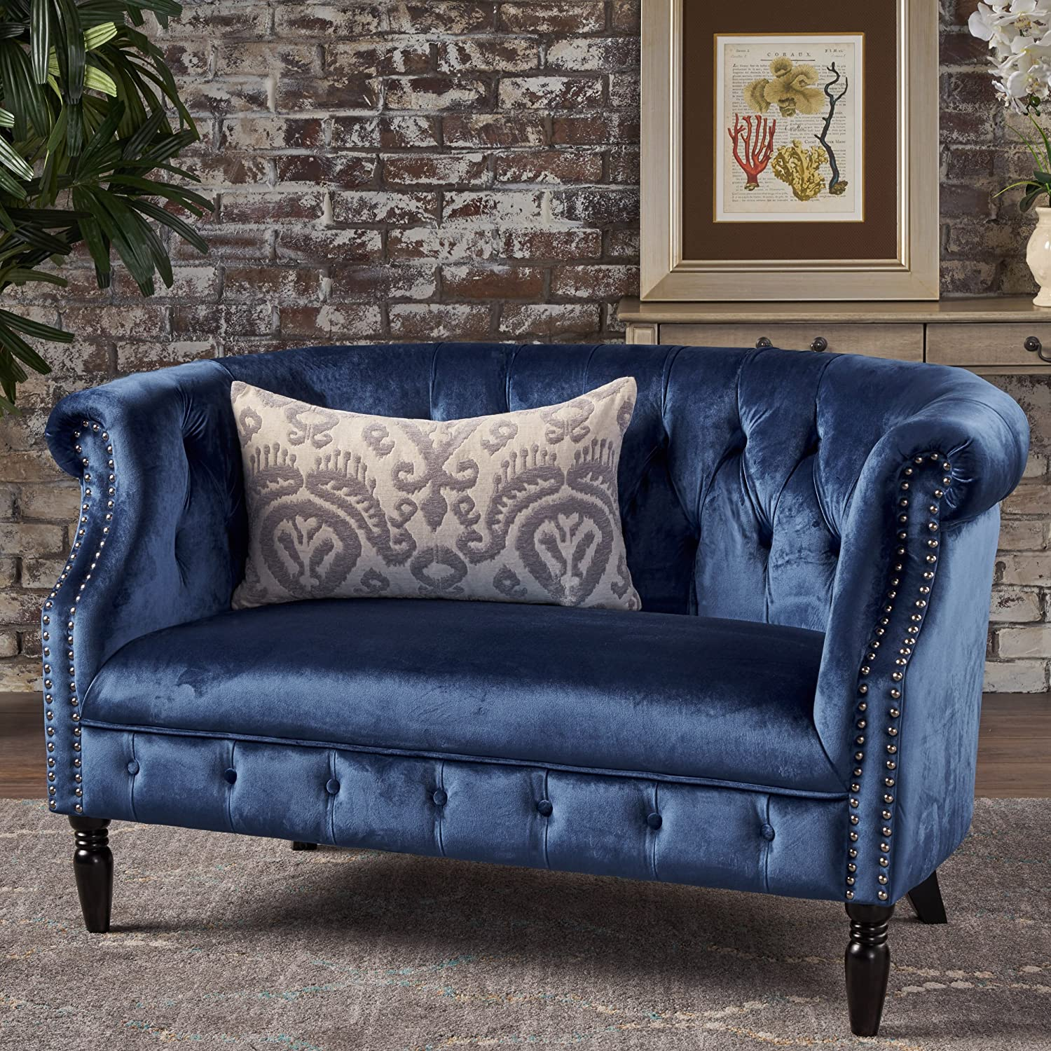 Amazing Christopher Knight Home Melaina Navy Blue Tufted Rolled Arm Velvet Chesterfield Loveseat Couch Gmtry Best Dining Table And Chair Ideas Images Gmtryco