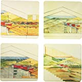 """CoasterStone AS1965 Absorbent Coasters, 4-1/4-Inch, """"Frank Lloyd Wright Wisconsin Red Barns"""", Set of 4"""