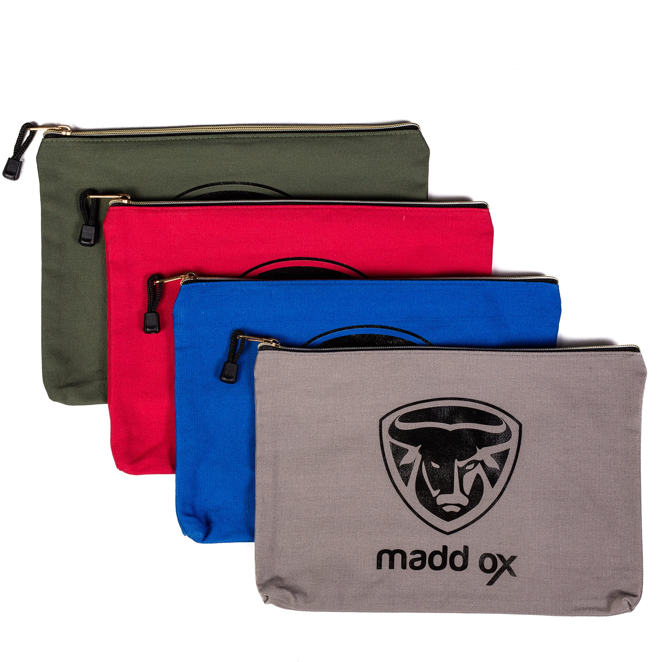 Canvas Zipper Tool Pouch Utility Bags 4 Pack - 16 oz. Heavy Duty Zippered Water Resistant - Multi-Purpose Storage Set Organizer for Handyman, Mechanic, Electrician, Carpenter, Construction For Men