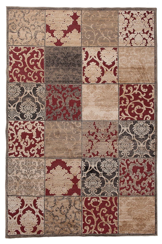 Tapiso Bohemian Teppich Kurzflor Vintage Floral Ornament Mosaik Muster Braun Rot Designer Wohnzimmer Schlafzimmer ÖKOTEX 200 x 300 cm