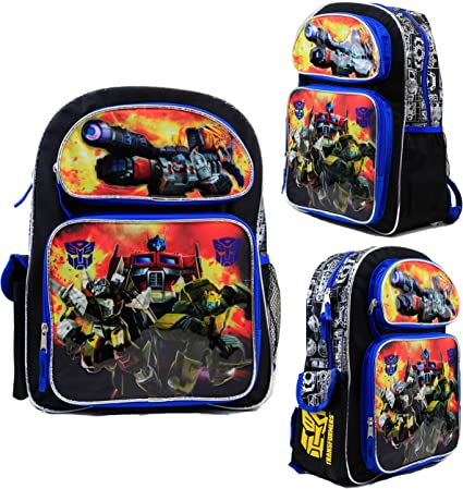 """Transformers 16/"""" Large School backpack Insulated Lunch Bag 2pc Set"""