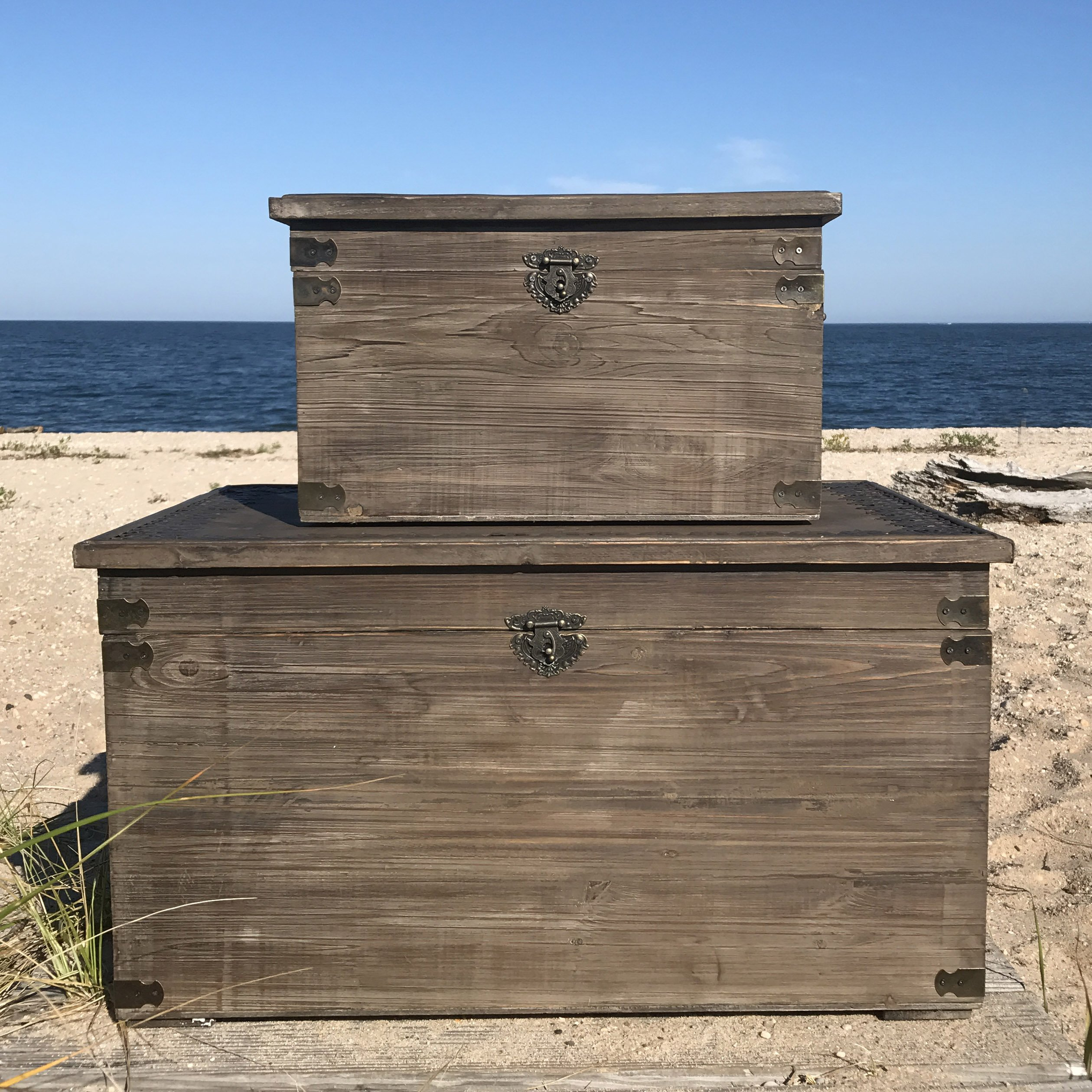 The Urban Zen Mandala Trunks, Treasure Chests, Storage Boxes, Set of 2, Medallion Topped,Tooled Metal Details, Hinged Top, Metal Side Handles, Swing Latch, Various Sizes, By Whole House Worlds