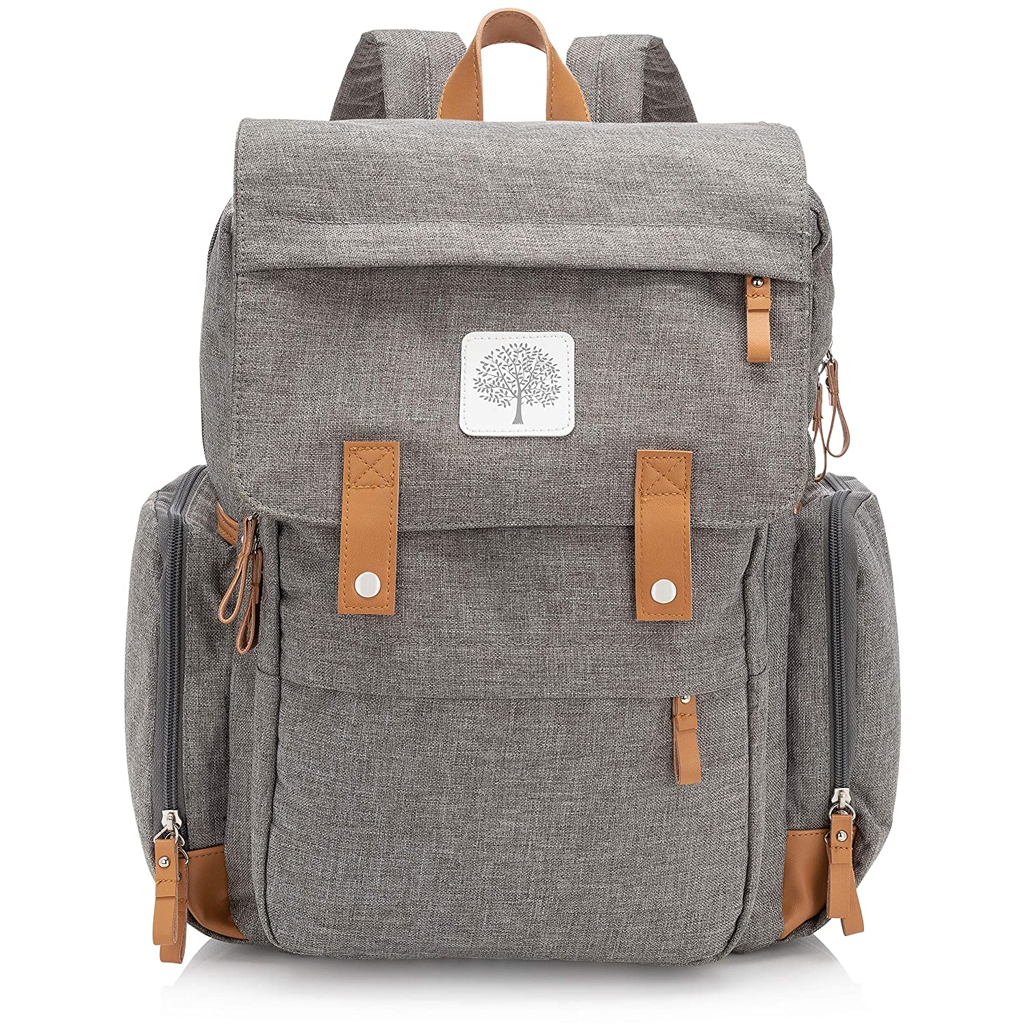 85b6bb83df Amazon.com : Parker Baby Diaper Backpack - Large Diaper Bag with Insulated  Pockets, Stroller Straps and Changing Pad -