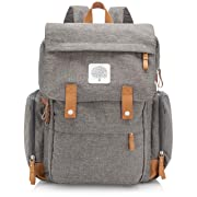 Parker Baby Diaper Backpack - Large Diaper Bag with Insulated Pockets, Stroller Straps and Changing Pad - Birch Bag  - Gray