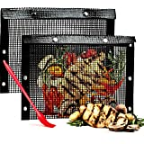 Oleex Non-Stick Large BBQ Grilling Bags + Basting Brush - Reusable PTFE Mesh Indoor Outdoor Charcoal Barbecue Grill Bag Acces