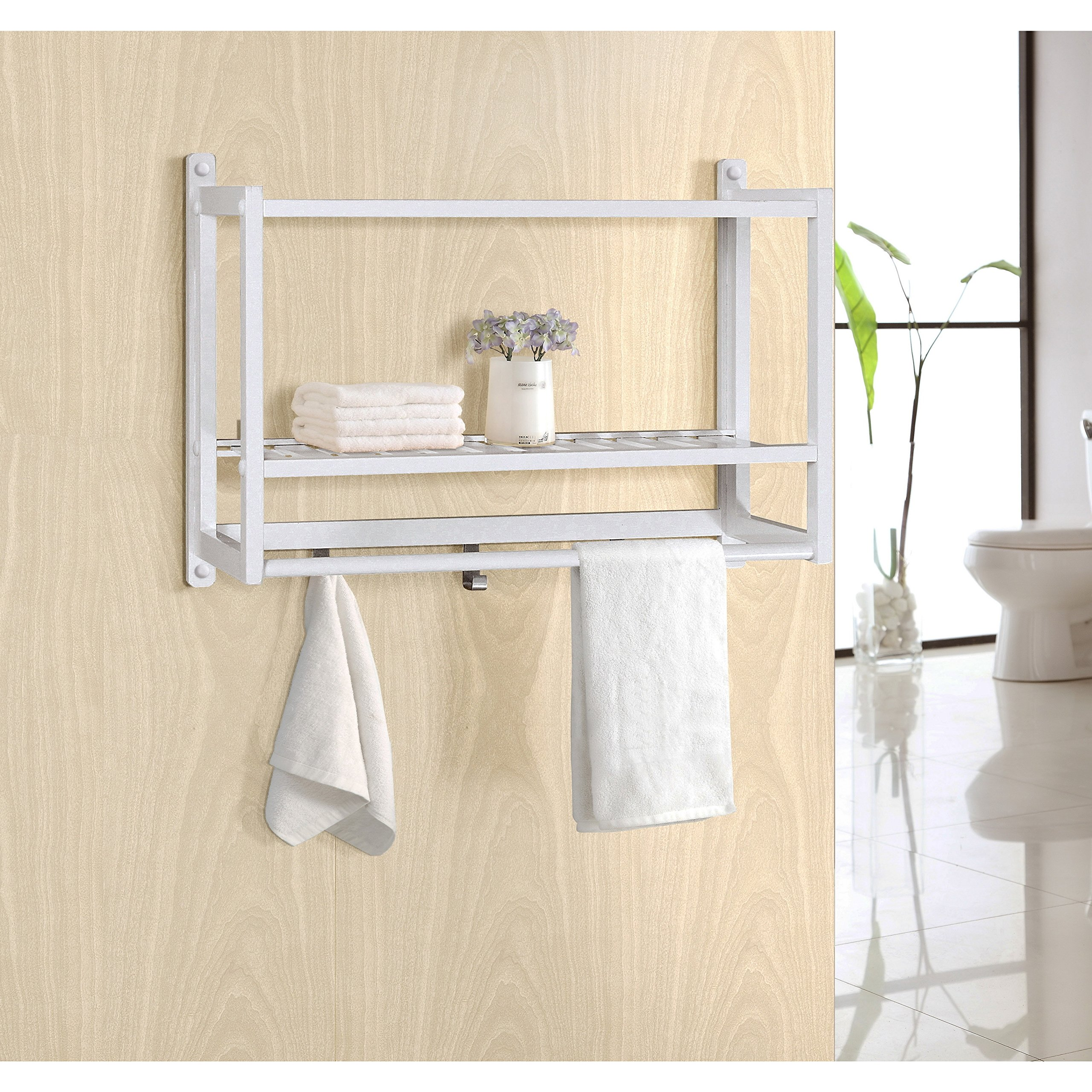 Gallerie Décor 20011-WH Natural Spa Bamboo Wall Organizer, One Size, White