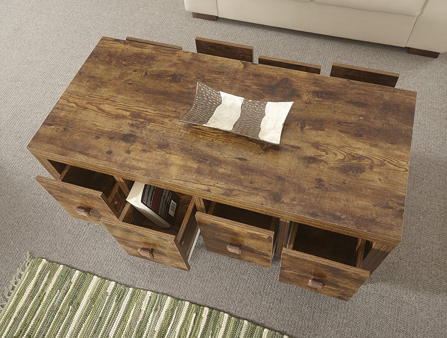 Home Source Particle Board Sturdy Walnut Mango Effect 8 Drawer Coffee Occasional Table