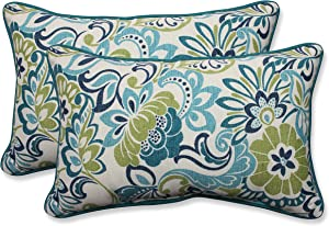 "Pillow Perfect 585840 Outdoor/Indoor Zoe Mallard Lumbar Pillows, 11.5"" x 18.5"", Blue, 2 Pack"