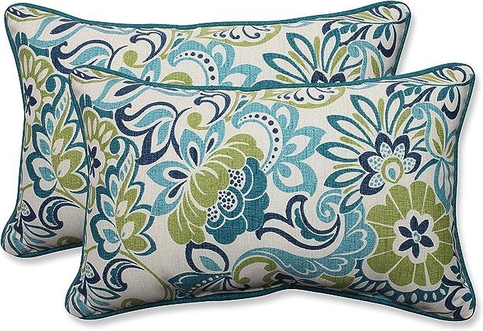 Pillow Perfect 585840 Outdoor Indoor Zoe Mallard Lumbar Pillows 11 5 X 18 5 Blue 2 Pack Home Kitchen Amazon Com