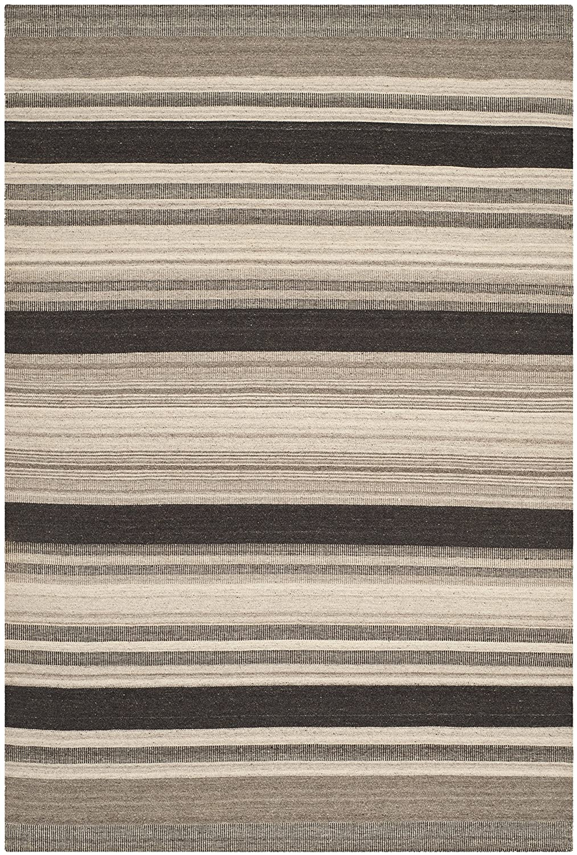 Safavieh Mason Dhurrie Teppich, DHU628, Gewebter Polyester und Viskose, Natur/Schwarz, 200 x 300 cm