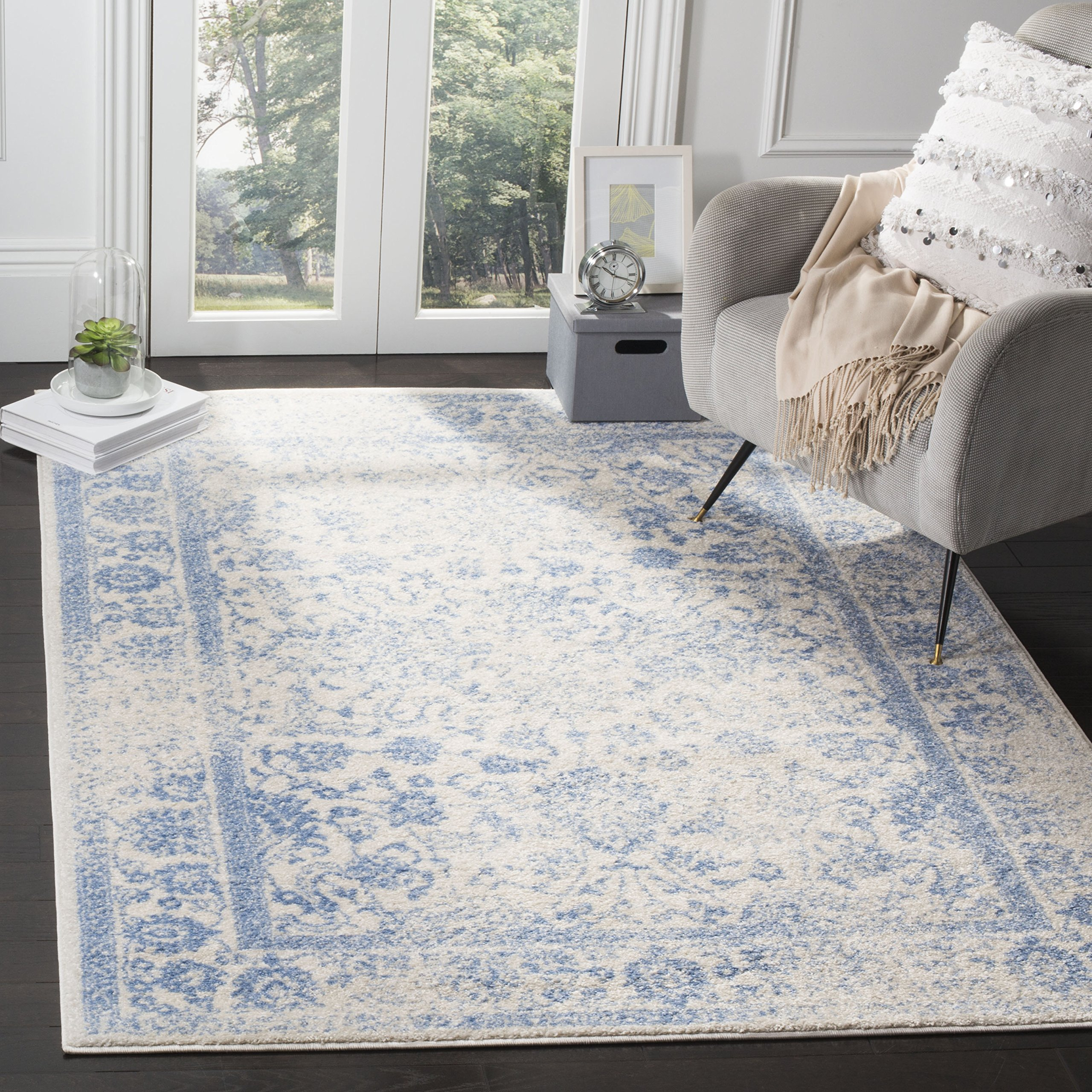 Safavieh Adirondack Collection ADR109L Ivory and Light Blue Oriental Vintage Distressed Area Rug (8' x 10) by Safavieh