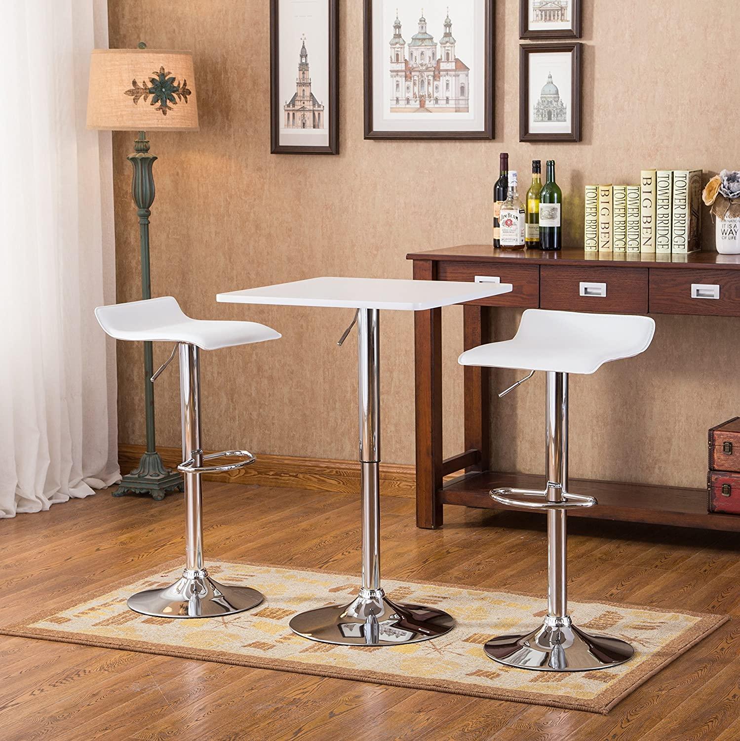 Sensational Roundhill Furniture Baxton White Square Top Adjustable Height Wood Chrome Metal Bar Table 2 Chrome Air Lift Adjustable Swivel Stools Set Theyellowbook Wood Chair Design Ideas Theyellowbookinfo