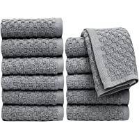 """Pleasant Home Washcloths Set - 12 Pack (12"""" x 12"""") – 550 GSM- 100% Ring Spun Cotton Wash Cloth - Super Soft and Highly Absorbent Face Towels (Grey, Check Design)"""