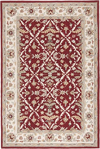 Safavieh Easy to Care Collection EZC717A Hand-Hooked Red and Ivory Area Rug 9 x 12